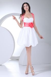 Coral Straps White Ruched Flowers Graduation Dress for Girls