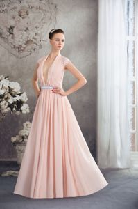 V-neck Silver Sash Baby Pink Graduation Dresses with Cap Sleeves