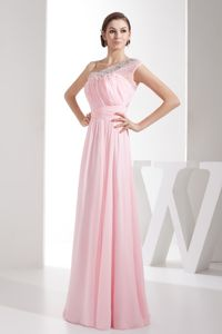 Side Zipper Beaded One Shoulder Ruched Light Pink Graduation Dress