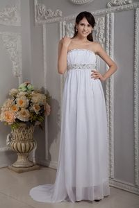White Chiffon Beaded Brush Train Graduation Dress in Mendocino