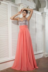 Watermelon Red Straps Chiffon Beaded Train Graduation Dress