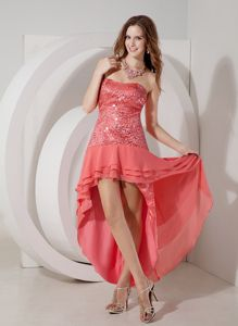 Watermelon Red High-low Senior Graduation Dress Decorated Sequins