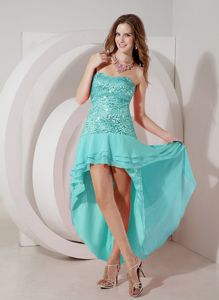 Aqua Blue High-low Graduation Dresses Strapless Decorated Sequins