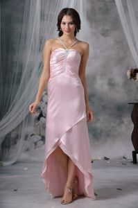 Nebraska Pink Sheath Straps Beading Graduation Dresses in High-low