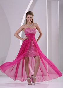 High-low Paillette Skirt Graduation Dress with Sweetheart in Hot Pink