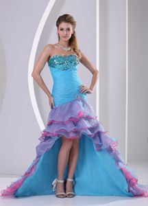 Montana Multi-color Grad Dress with Beaded and Ruche in High-low