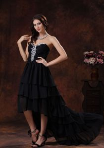 Camp Verde Arizona Black High-low Graduation Dress with Rhinestones