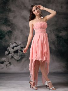 Peach Knee-length Eighth Grade Graduation Dresses with Beaded Sash