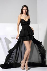 New Mexico High-low Sequin and Chiffon Black 2013 P Graduation Dress