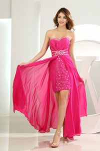 High Slit Beading Sweetheart Graduation Dress in Hot Pink and Empire