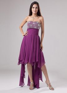 Nevada Ruched Decorated Beaded Grad Dresses for Girls in Fuchsia