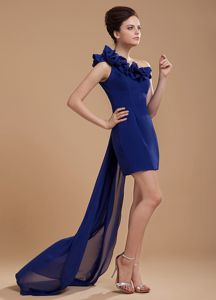 Royal Blue One Shoulder 5th Grade Grad Dresses with Flower Watteau
