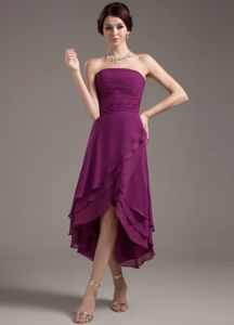 Ruching Decorated Bodice Dark Purple in High-low Graduation Dresses