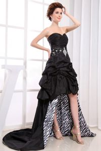 Black High-low Graduation Dress with Beaded Pick-ups in North Carolina