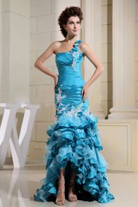 High-low Teal and Mermaid Grad Dress with Appliques and Layers