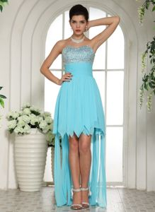 Aqua Blue Beaded Sweetheart High-low Graduation Dress In Starkville