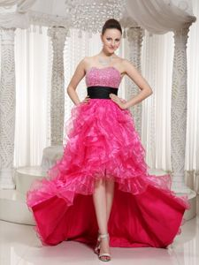 Black Beaded Belt Junior Graduation Dresses with High-low in Hot Pink