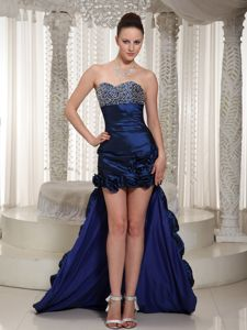 Kentucky High-low Beading Bust Graduation Dresses in Royal blue