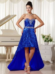 2013 Paillette Over Skirt with Sweetheart Graduation Dress in High-low