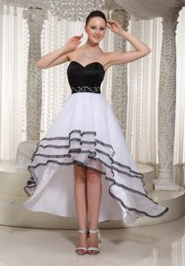 Black and White Grad Dresses for Girls with Beading Decorated Belt