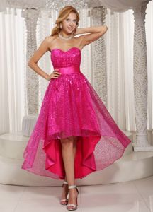 Hot Pink Paillette and Sash for High-low Sweetheart 2013 Grad Dress