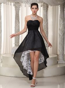Black Sweetheart High-low Graduation Dress Made in Chiffon and Lace