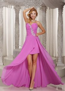 High-low Grad Dress Lavender Sweetheart with Appliques and Ruched