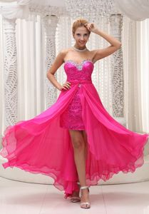 Hot Pink Beading for Detachable and Sequins Graduation Dresses
