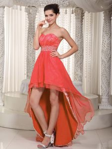 Coral Red Empire High-low Lace Beading Senior Graduation Dresses