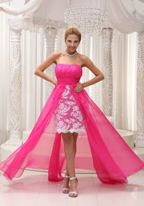 Hot Pink High-low Ruched 5th Grade Graduation Dresses with Lace