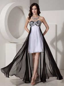 Black and White Graduation Dresses with Appliques and Beading