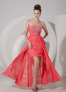 Oklahoma Red High-low Graduation Dress with Beading in Watermelon