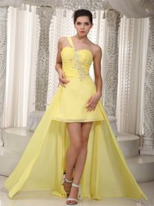 Yellow One Shoulder High-low Beading Graduation Dress for Grade 8