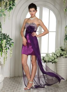 Eggplant Purple Sweetheart Beaded Bust Grad Dress with Appliques