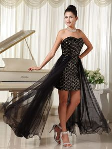 New Jersey High-low Graduation Dresses Black with Special Fabric