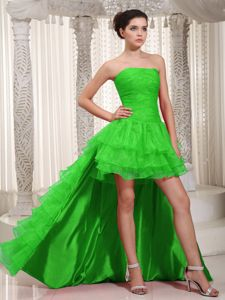 High-low Spring Green Ruching and Ruffled Layers Graduation Dress