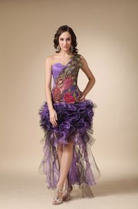 Purple One Shoulder and Feather Grad Dress with Appliques in High-low