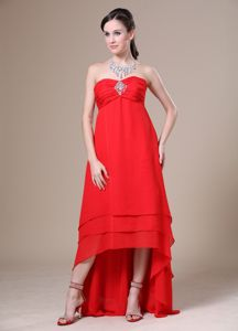 Red High-low Ruched Bust for 2013 Graduation Dress with Beading