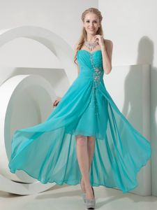 Turquoise Beading High-low Sweetheart Senior Graduation Dresses