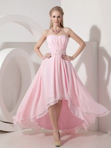 Baby Pink Beading High-low Sweetheart Graduation Dress in Empire