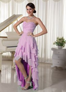 Pink Layered Grad Dress with Empire Beading and Ruche in High Low