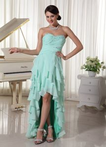Layered and High Low Beading Grad Dress with Empire in Apple Green