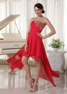 Red High-low North Carolina Grad Dresses with Beading and Ruching