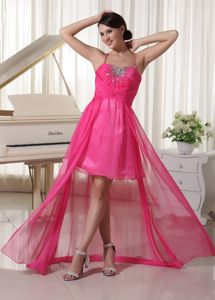 Hot Pink Spaghetti Straps Beaded High-low Senior Graduation Dresses