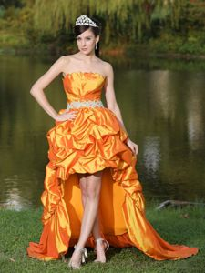 South Carolina Orange Graduation Dresses with Lace-up in High-Low