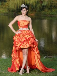Tennessee Graduation Dress with Lace-up in High-Low and Orange Red