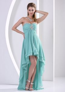 High-low and Beading Graduation Dress with Sweetheart in Turquoise