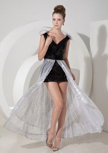 Black and Silver Graduation Dress with V-neck Detachable Sequins Skirt