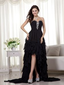 Oklahoma Black Beading Layered Ruffles Graduation Dress in High-low
