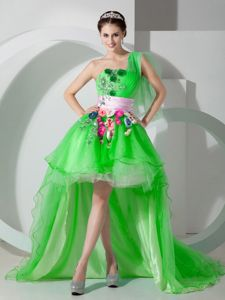 New Jersey Spring Green One Shoulder Grad Dresses with Beading